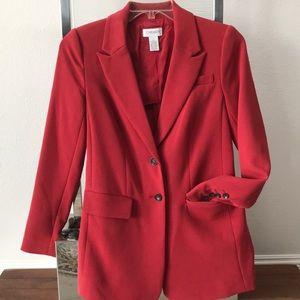 CARMEN MARC VALVO Red Long Blazer